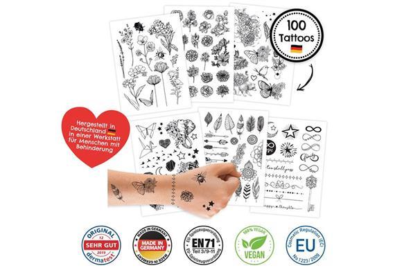 100 Kindertattoos zum Aufkleben – Schwarz/Weiss