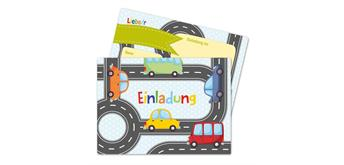 12 Einladungskarten zum Geburtstag – Autos