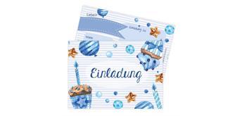 12 Einladungskarten zum Geburtstag – Törtchen blau