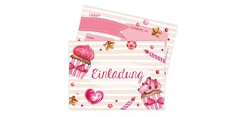 12 Einladungskarten zum Geburtstag – Törtchen Rosa