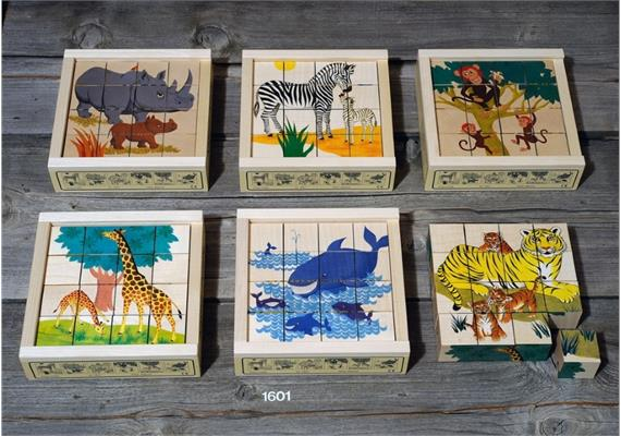 Atelier Fischer 1601 Klötzlipuzzle 16-teilig, Wildtiere mit Jungen