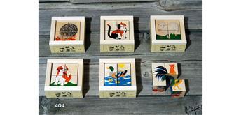 Atelier Fischer 404 Klötzlipuzzle 4-teilig, Haustiere mit Holzhintergrund