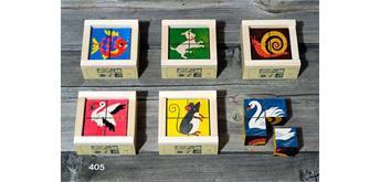 Atelier Fischer 405 Klötzlipuzzle 4-teilig, Haustiere mit Farbhintergrund