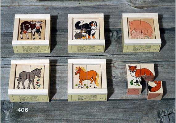 Atelier Fischer 406 Klötzlipuzzle 4-teilig, Tiere vom Bauernhof