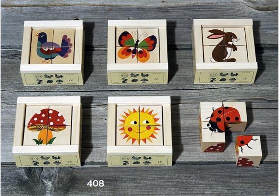 Atelier Fischer 408 Klötzlipuzzle 4-teilig, Natura