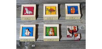 Atelier Fischer 41 Klötzlipuzzle Mini 4-teilig, Haustiere / Farbhintergrund