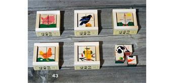 Atelier Fischer 43 Klötzlipuzzle Mini 4-teilig, 43 Haustiere / Holzhintergrund