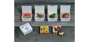 Atelier Fischer 440 Würfelpuzzle 4-teilig Mini, Tiere