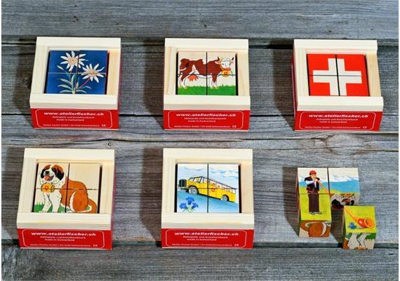 Atelier Fischer 48 Klötzlipuzzle Mini 4-teilig, Mini - Swiss