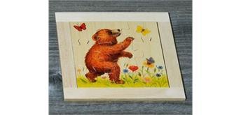 Atelier Fischer 6011 Puzzle Bären 9-teilig - Bär mit Schmetterling