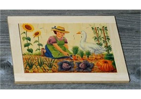 Atelier Fischer 6021 Puzzle Bauernhof 12-teilig Frau mit Gans