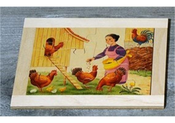 Atelier Fischer 6021 Puzzle Bauernhof 12-teilig Frau mit Hühner