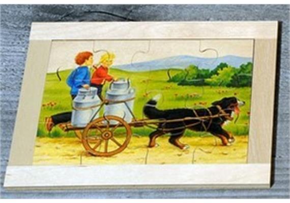 Atelier Fischer 6021 Puzzle Bauernhof 12-teilig Hund mit 2 Kindern