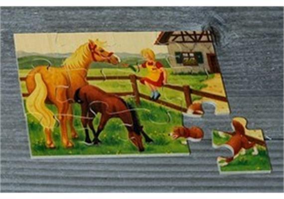 Atelier Fischer 6021 Puzzle Bauernhof 12-teilig Pferde
