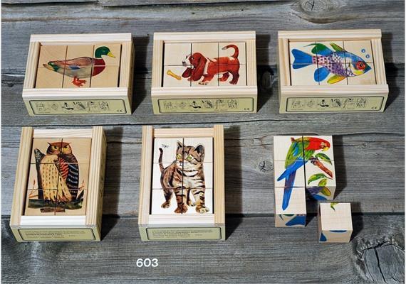 Atelier Fischer 603 Klötzlipuzzle 6-teilig, Tiere mit Holzhintergrund