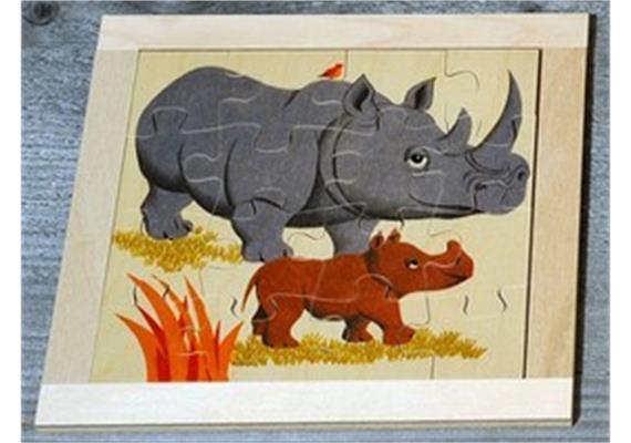 Atelier Fischer 6030 Puzzle Wildtiere 16-teilig- Nashorn