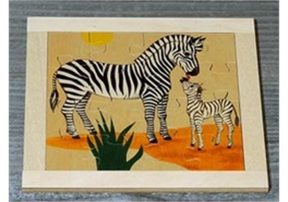 Atelier Fischer 6030 Puzzle Wildtiere 16-teilig- Zebra