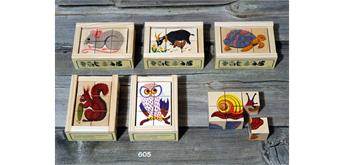 Atelier Fischer 605 Klötzlipuzzle 6-teilig, Tiere mit Holzhintergrund