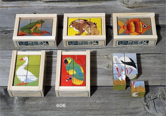Atelier Fischer 606 Klötzlipuzzle 6-teilig, Tiere mit Farbhintergrund