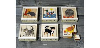 Atelier Fischer 903 Klötzlipuzzle 9-teilig, Haustiere