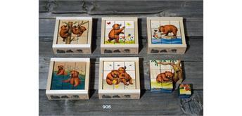 Atelier Fischer 906 Klötzlipuzzle 9-teilig, Kleiner Bär