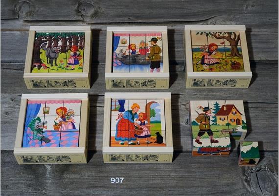 Atelier Fischer 907 Klötzlipuzzle 9-teilig, Rotkäppli