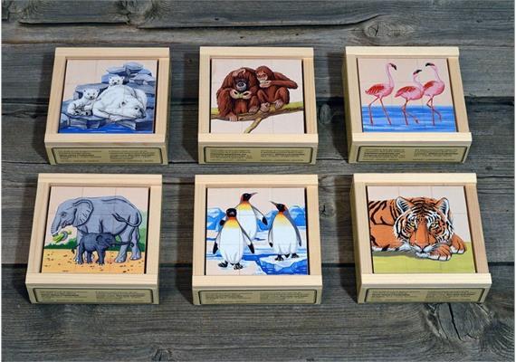 Atelier Fischer 909 Klötzlipuzzle 9-teilig, Zootiere