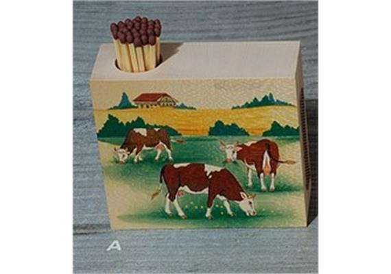 Atelier Fischer 9322A Zündholzhalter Kühe, drei Kühe