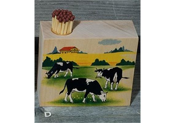 Atelier Fischer 9322D Zündholzhalter Kühe, 3 schwarze Kühe