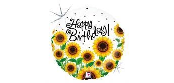 betallic- Folienballon Birthday Sonnenblumen 46 cm