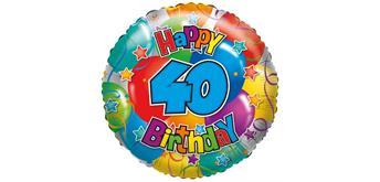 "Betallic- Folienballon ""Happy Birthday 40"" 45 cm"