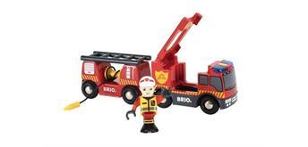 BRIO 33811 Feuerwehr-Leiterfahrzeug mit Licht und