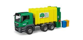 Bruder 03764 MAN TGS Müll-LKW Hecklader grün/gelb