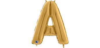 Buchstaben-Folienballon - A in gold ohne Füllung