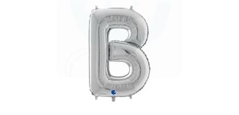 Buchstaben-Folienballon - B in silber ohne Füllung