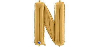 Buchstaben-Folienballon - N in gold ohne Füllung