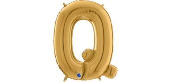 Buchstaben-Folienballon - Q in gold ohne Füllung