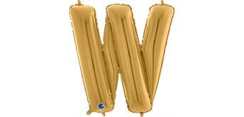 Buchstaben-Folienballon - W in gold ohne Füllung