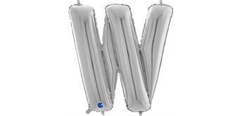 Buchstaben-Folienballon - W in silber ohne Füllung