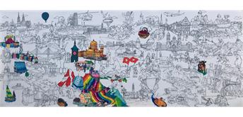 ColoriSwiss Ausmalposter der Schweiz 150 x 60 cm