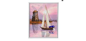 """Crystal Art """"Boot mit Windmühle"""" Bilderrahmen 21 x 25 cm"""