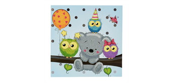 "Crystal Art Card Kit ""Birthday Friends"" 18 x 18 cm"