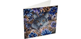 "Crystal Art Card Kit ""Cat & Flowers"" 18 x 18 cm"