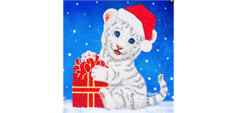 "Crystal Art Card Kit ""Christmas White Tiger "" 18 x 18 cm"