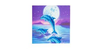 """Crystal Art Card Kit """"Dolphin Pod"""" 18 x 18 cm"""