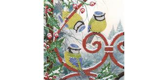 """Crystal Art Card Kit """"Frosted Feathers"""" 18 x 18 cm"""