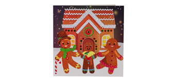 "Crystal Art Card Kit ""Gingerbread Family"" 18 x 18 cm"