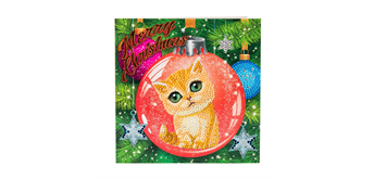 "Crystal Art Card Kit ""Kitten Bauble"" 18 x 18 cm"