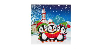 "Crystal Art Card Kit ""Penguin Christmas Carols"" 18 x 18 cm"