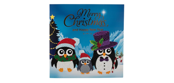 "Crystal Art Card Kit ""Penguin Family"" 18 x 18 cm"